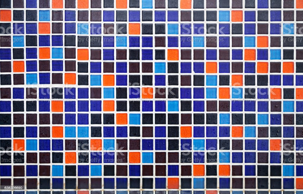 Blue and orange tiled floor with water drops pattern background stock photo