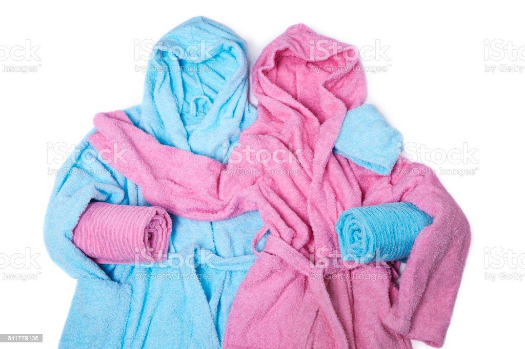 Blue and pink bathrobe stock photo