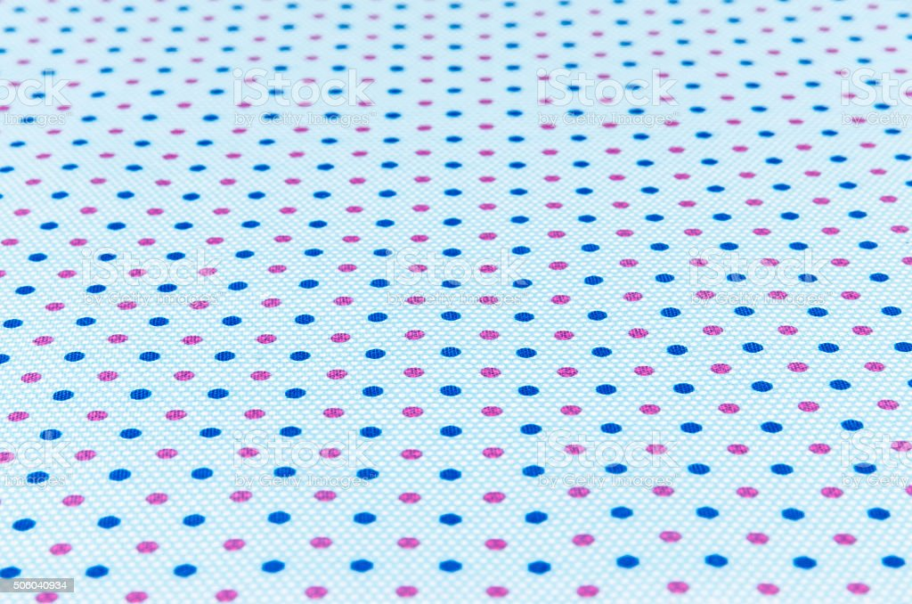 Blue and Pink dotted pattern fabric texture stock photo