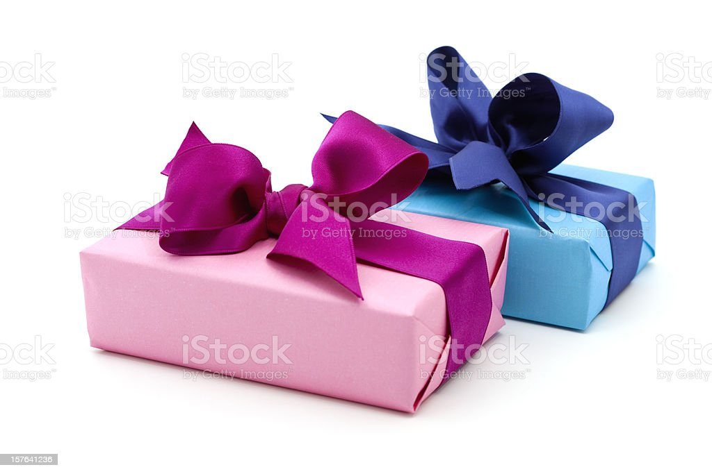 blue and pink gift boxes with bow royalty-free stock photo