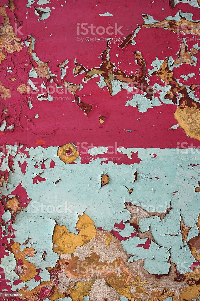 Blue and pink peeling paint background royalty-free stock photo