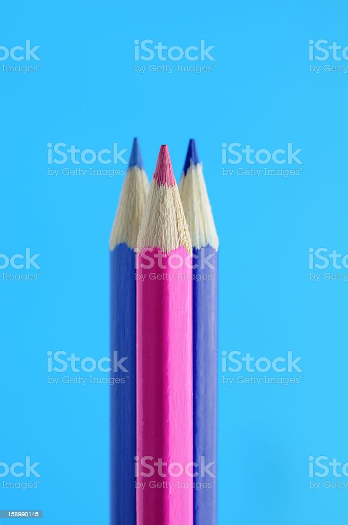 Blue and Pink Pencils royalty-free stock photo