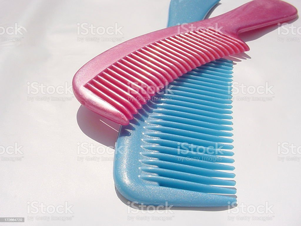 Blue and Pink Plastic Combs royalty-free stock photo