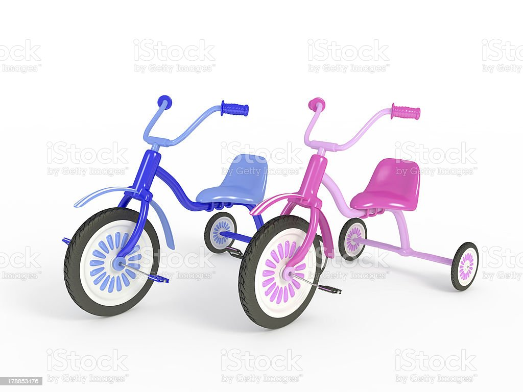 Blue and pink tricycle isolated on white royalty-free stock photo