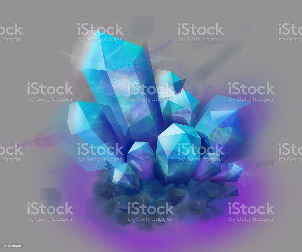 Blue and purple Crystal stone. mineral stock photo