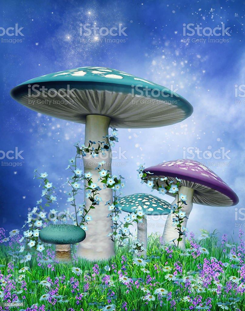 Blue and purple mushrooms stock photo