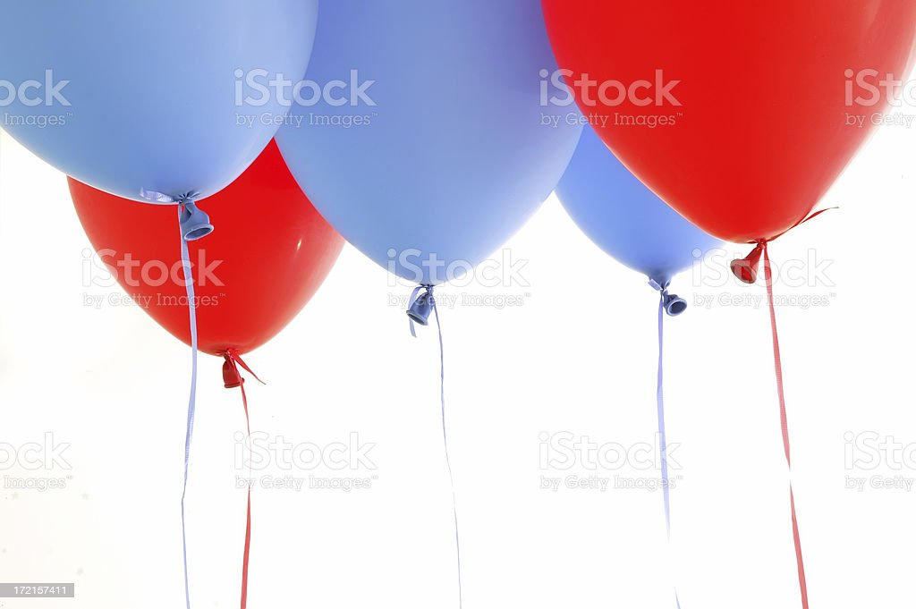 blue and red balloons stock photo