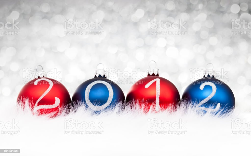 Blue and Red Baubles 2012 year royalty-free stock photo
