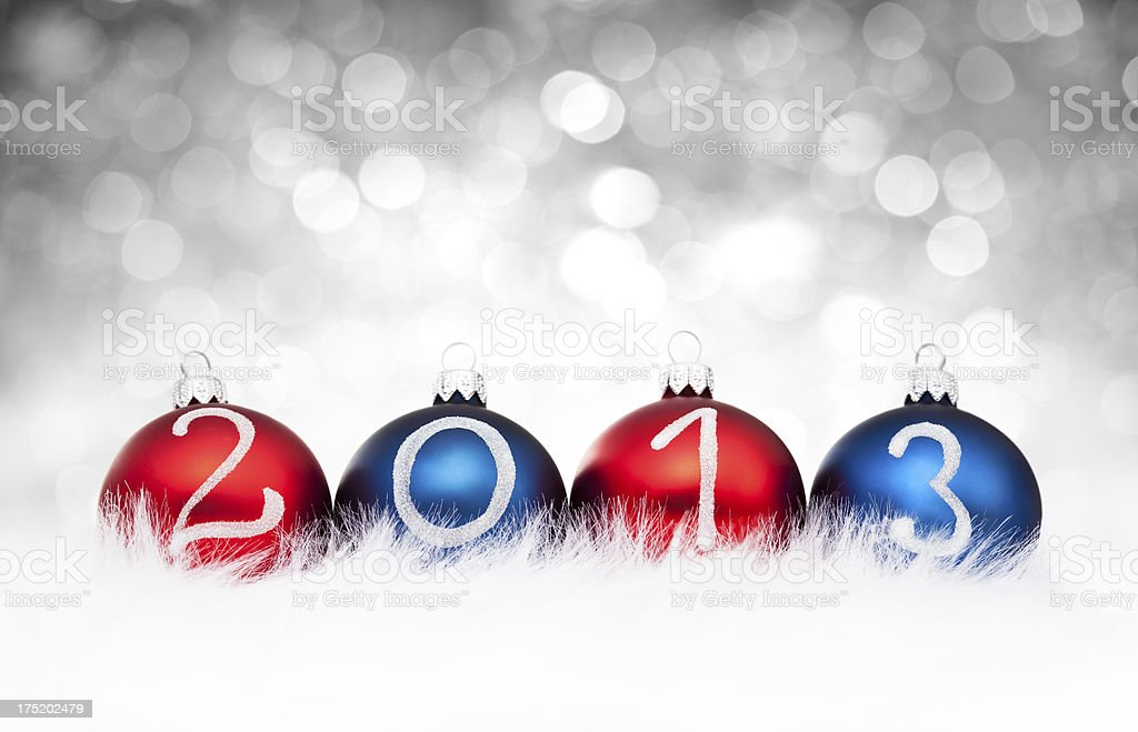 Blue and Red Baubles 2013 year royalty-free stock photo