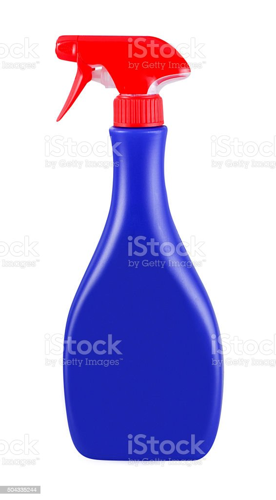 Blue and red blank pump bottle stock photo