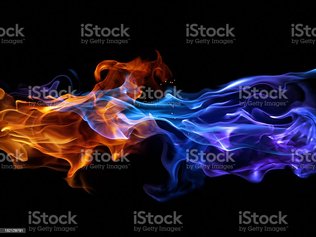 Blue and red fire stock photo