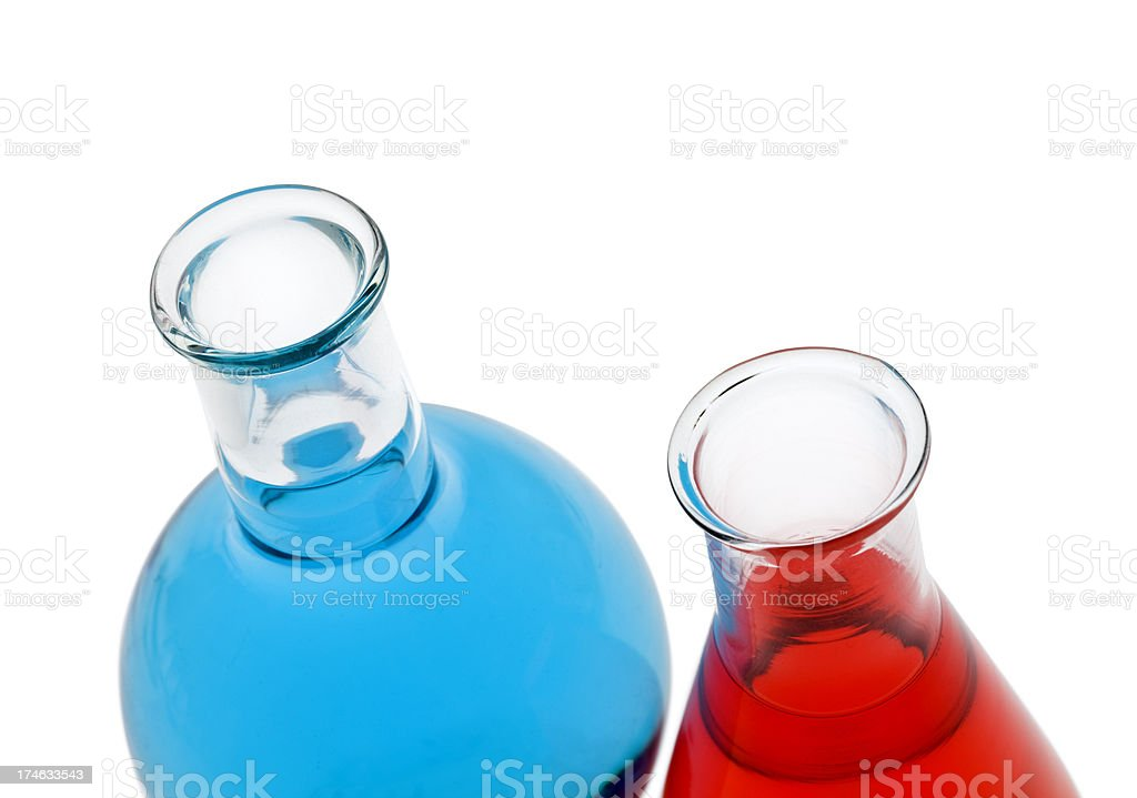 Blue and red flasks inc clipping path royalty-free stock photo