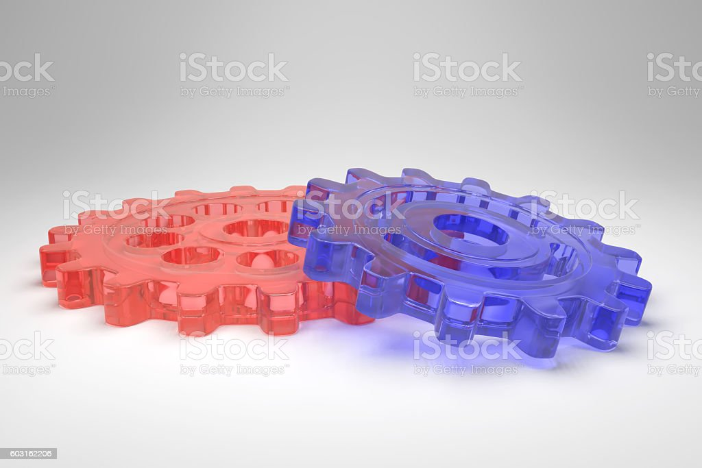 blue and red glass gear wheels stock photo