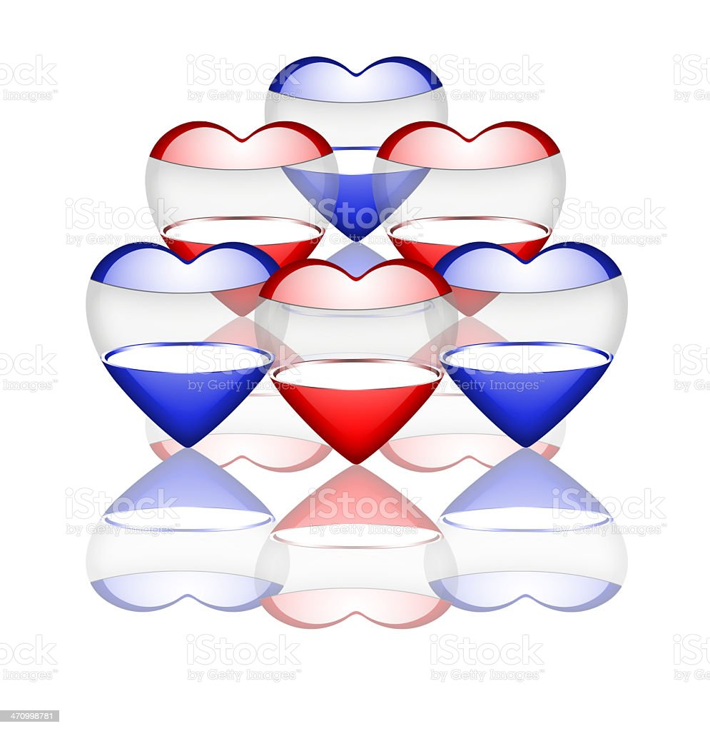 Blue and red hearts royalty-free stock photo