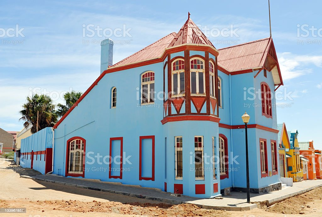 Blue and red house stock photo