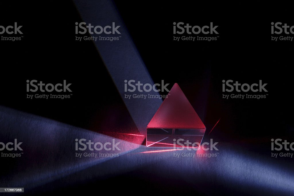 Blue and Red Light Through Prism stock photo