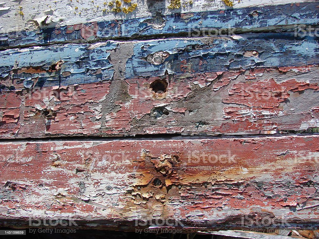 Blue and red peeling paint royalty-free stock photo