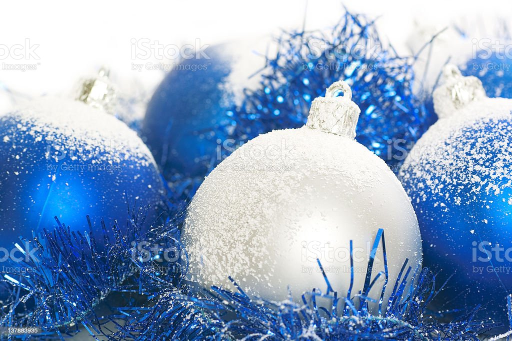 Blue and silver christmas balls royalty-free stock photo
