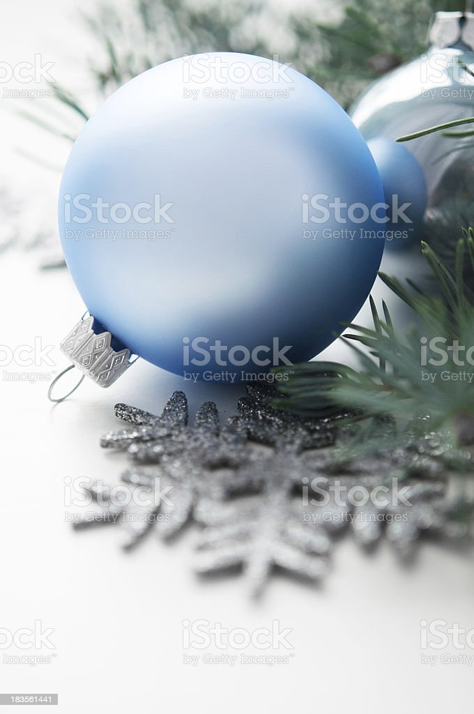 Blue and silver christmas decorations royalty-free stock photo