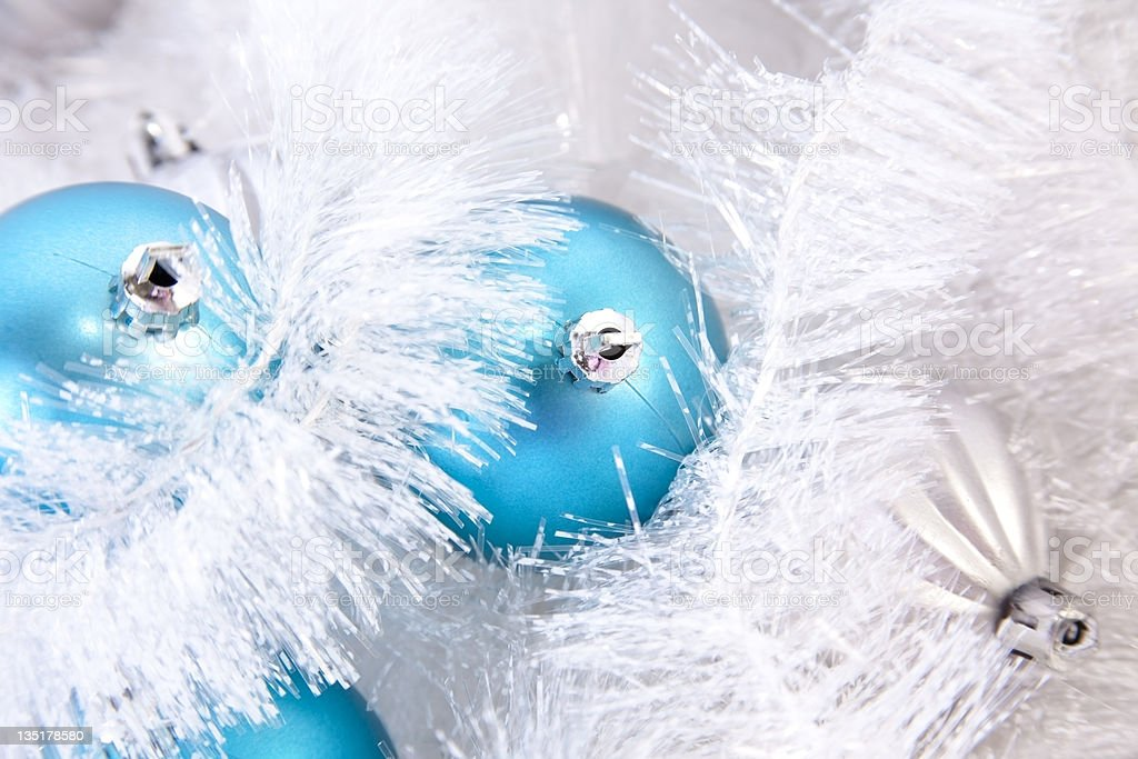 Blue and Silver Christmas Ornaments royalty-free stock photo