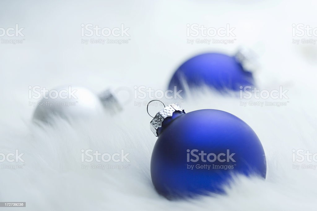 Blue and Silver Christmas Ornaments stock photo