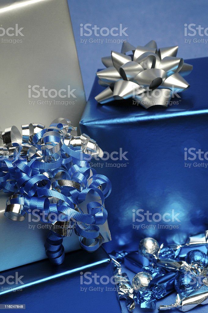 Blue and Silver Gifts royalty-free stock photo