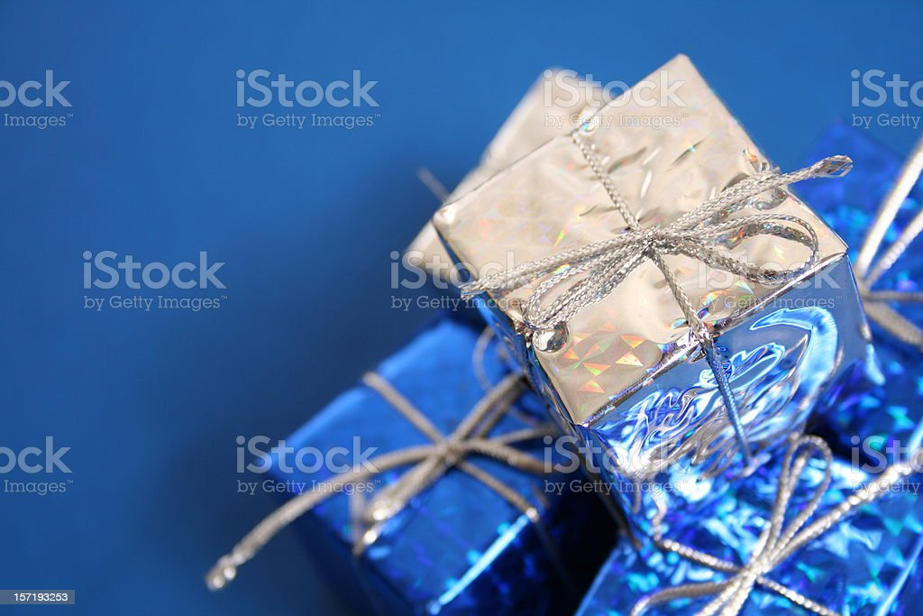 Blue and silver presents royalty-free stock photo