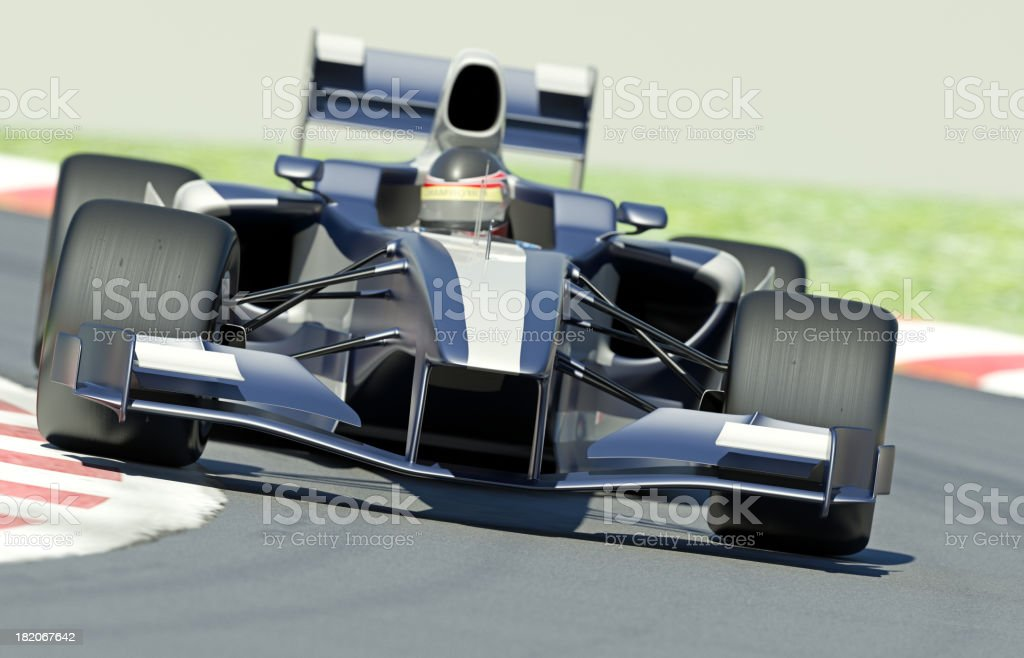 A blue and silver race car on a track stock photo