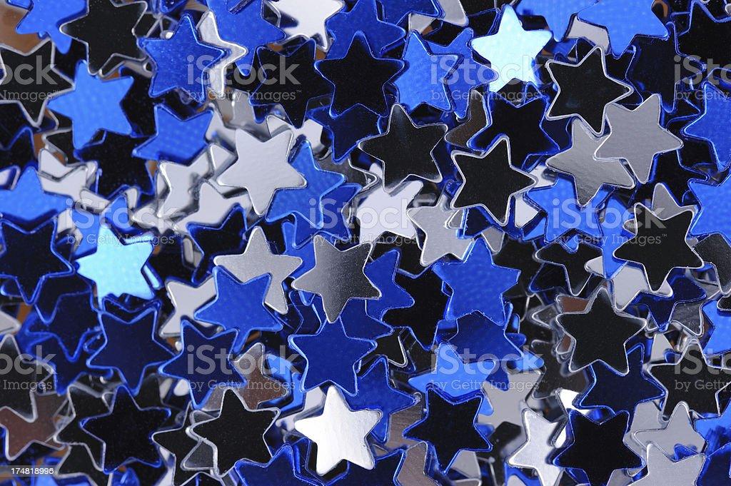 Blue and Silver Stars Macro royalty-free stock photo