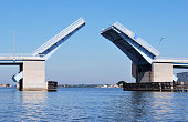 Blue and Steel Drawbridge Opening From On Water Perspective