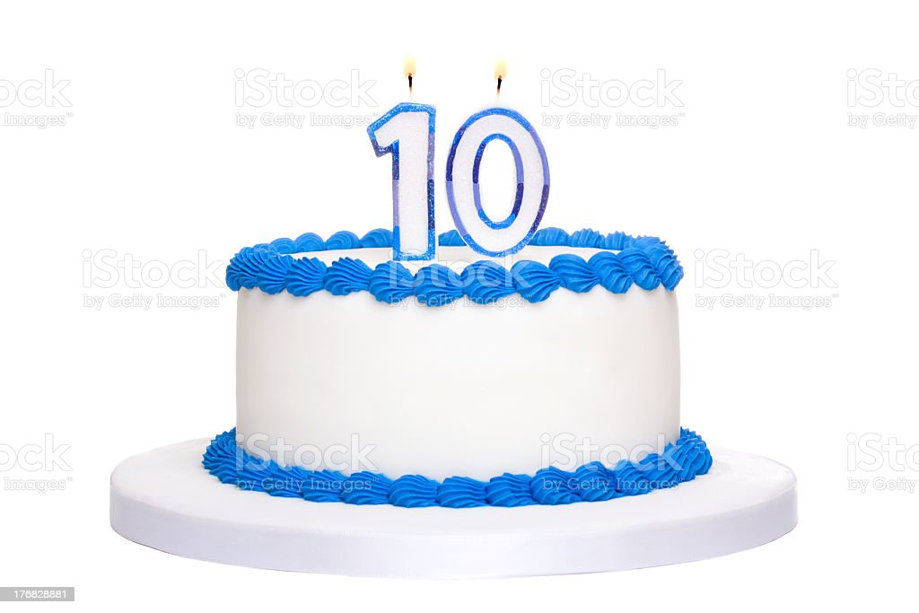 Blue and white 10th birthday cake stock photo