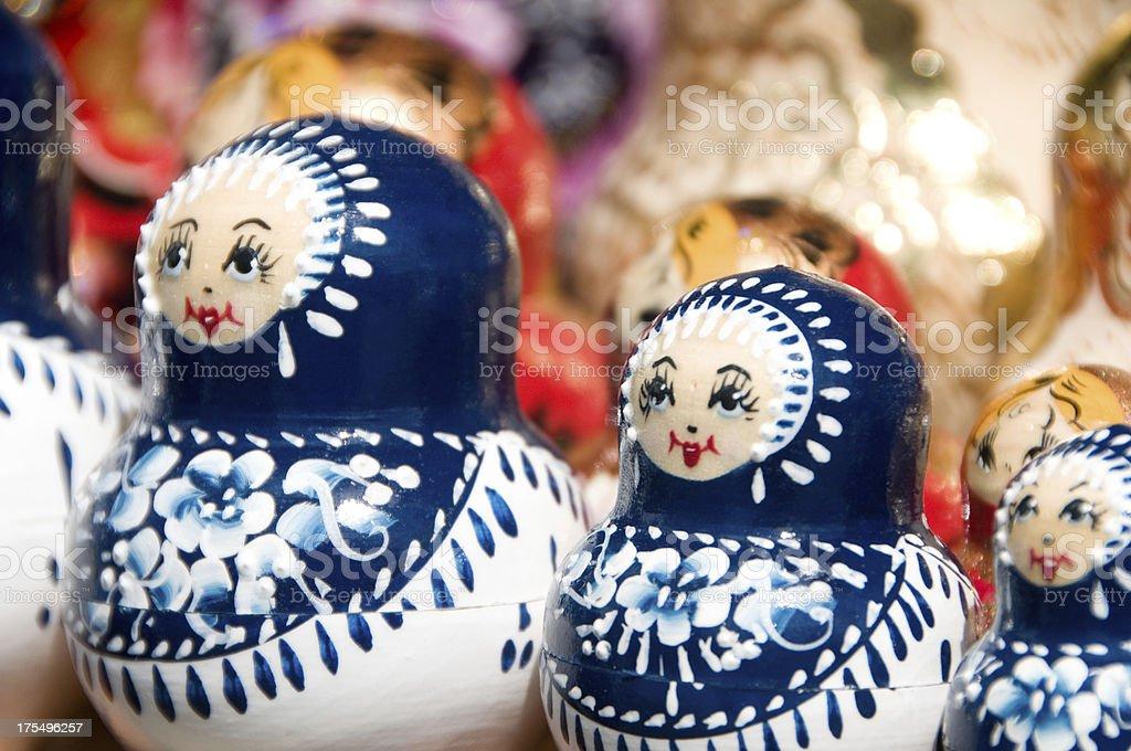 Blue and white Babushka or Matryoshka Russian nesting dolls stock photo