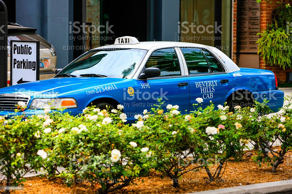 Blue and white cab of the Beverly Hills Cab stock photo