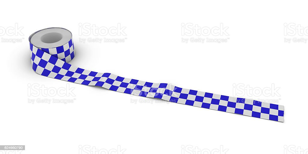Blue and White Checkered Tape Roll unrolled across white floor stock photo
