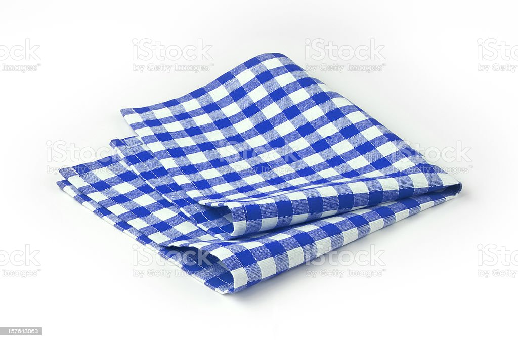Blue and white chequered tea towel stock photo