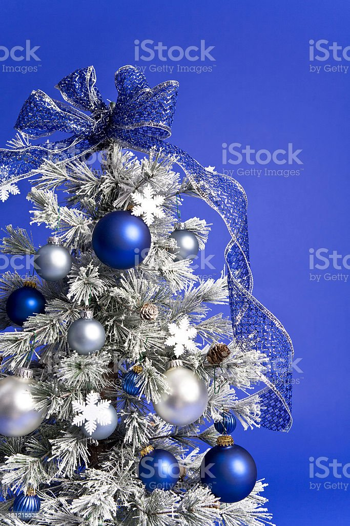 Blue and White Christmas Tree royalty-free stock photo