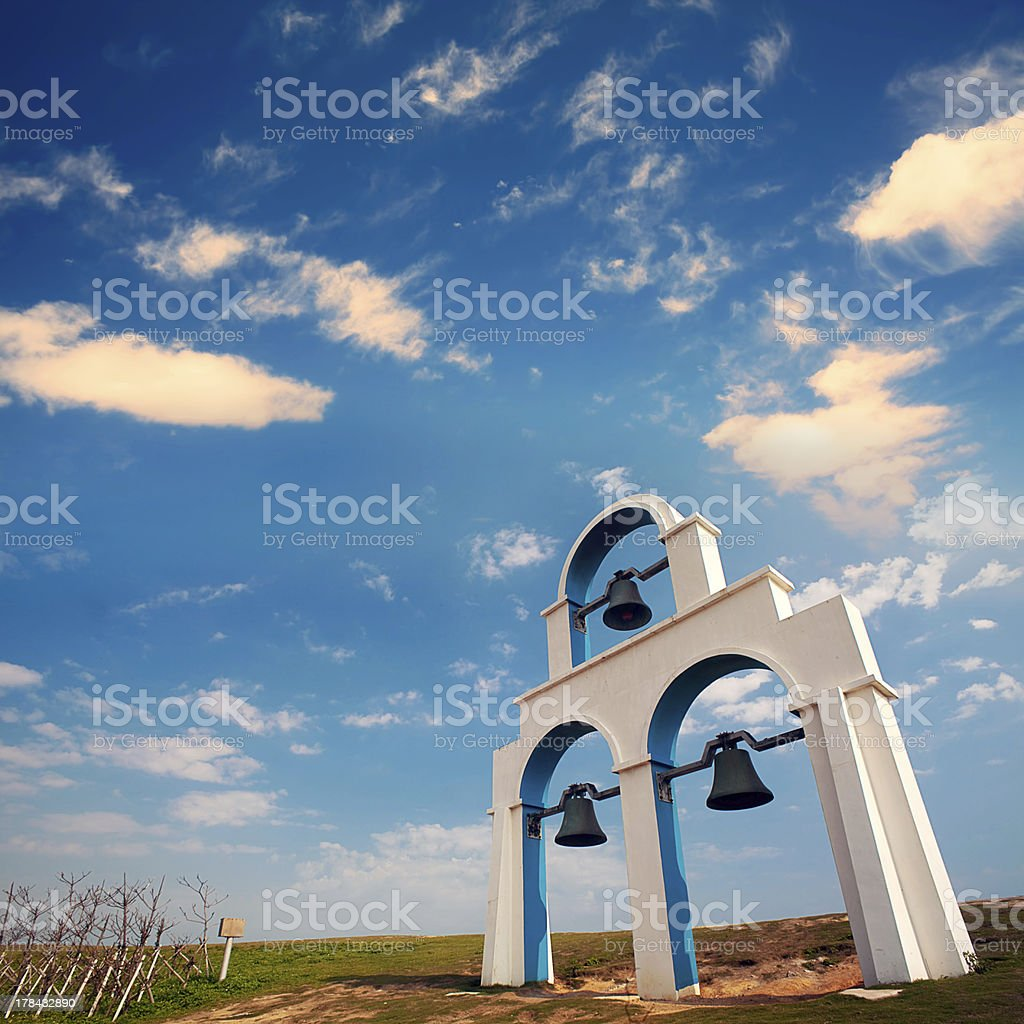 Blue and White Church bells stock photo