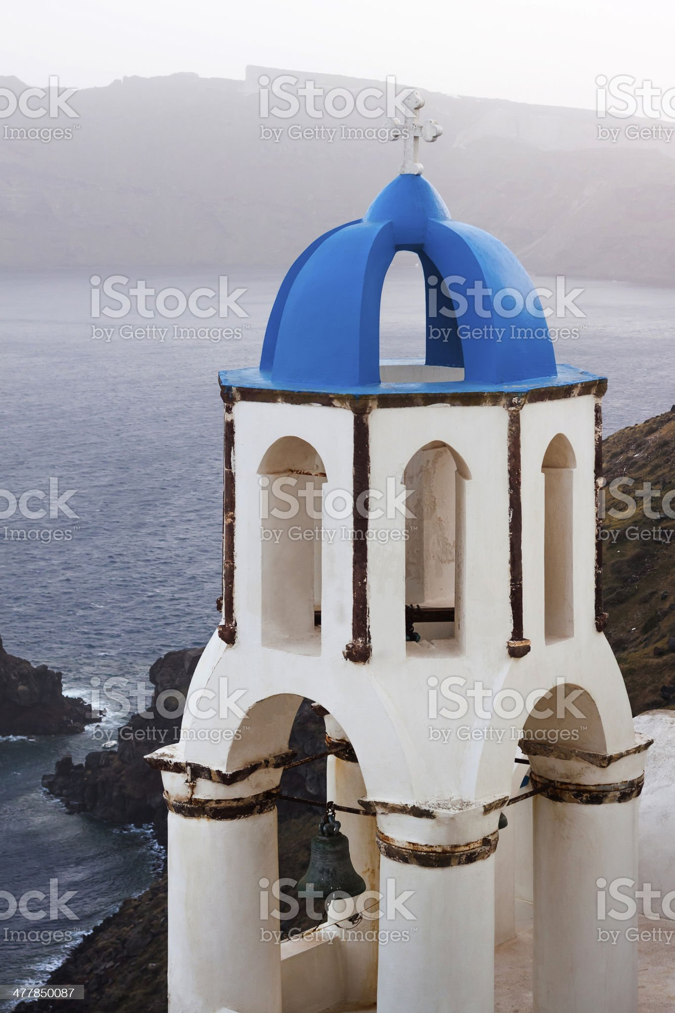 Blue and white church, Greece royalty-free stock photo