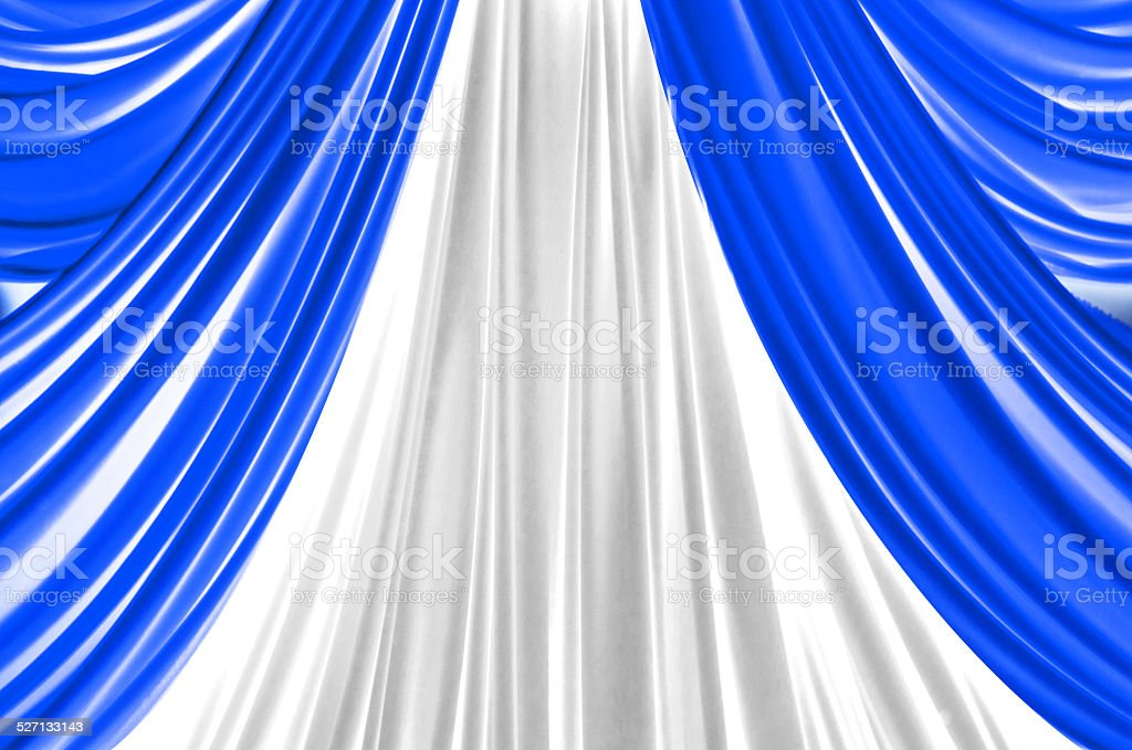 blue and white curtain on stage stock photo