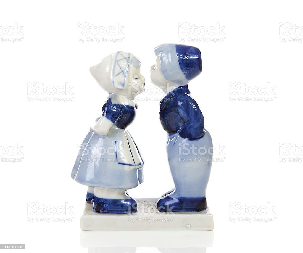 A blue and white Delft style Dutch figurine souvenir stock photo