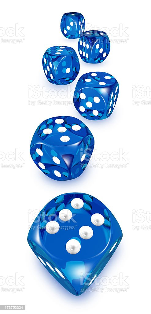 Blue and white dice on a white background royalty-free stock photo