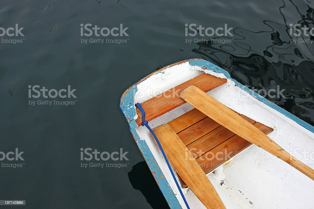 Blue and White Dinghy royalty-free stock photo