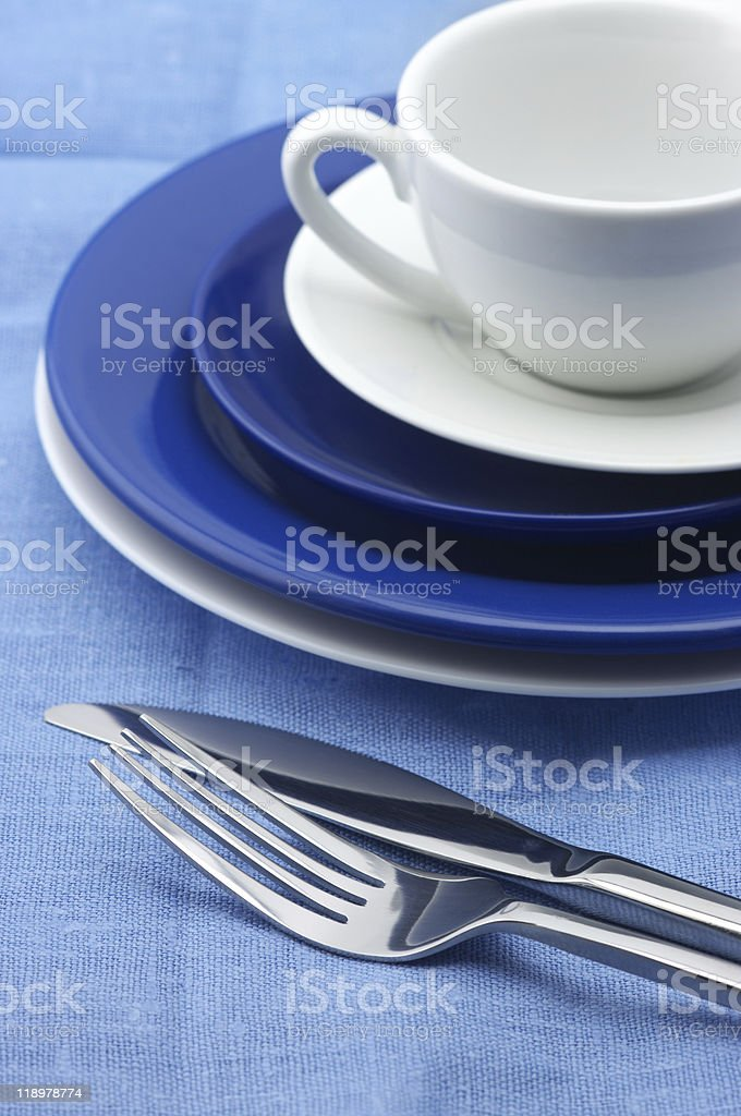 Blue and white dishware royalty-free stock photo