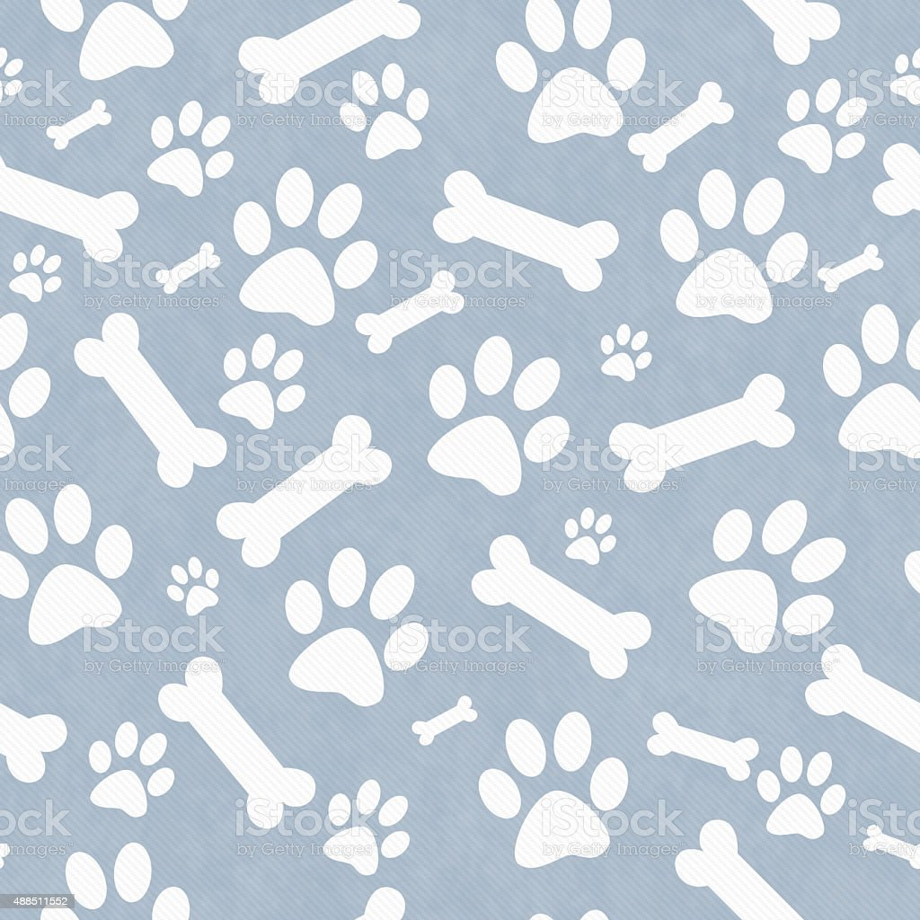 Blue and White Dog Paw Prints and Bones  Pattern Background stock photo