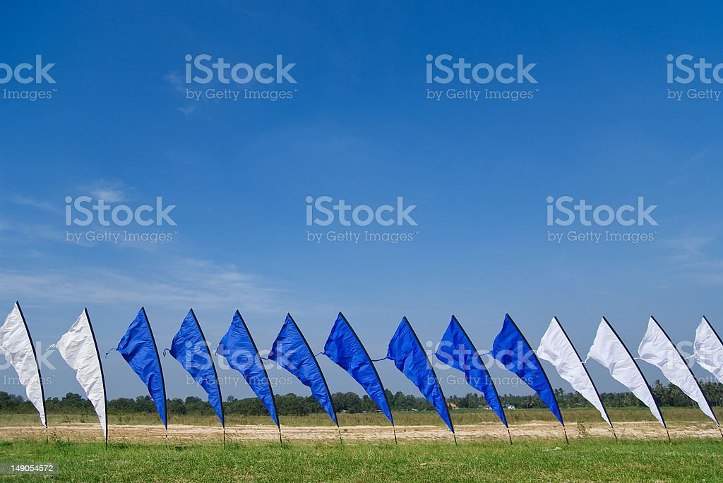 Blue and white flags royalty-free stock photo