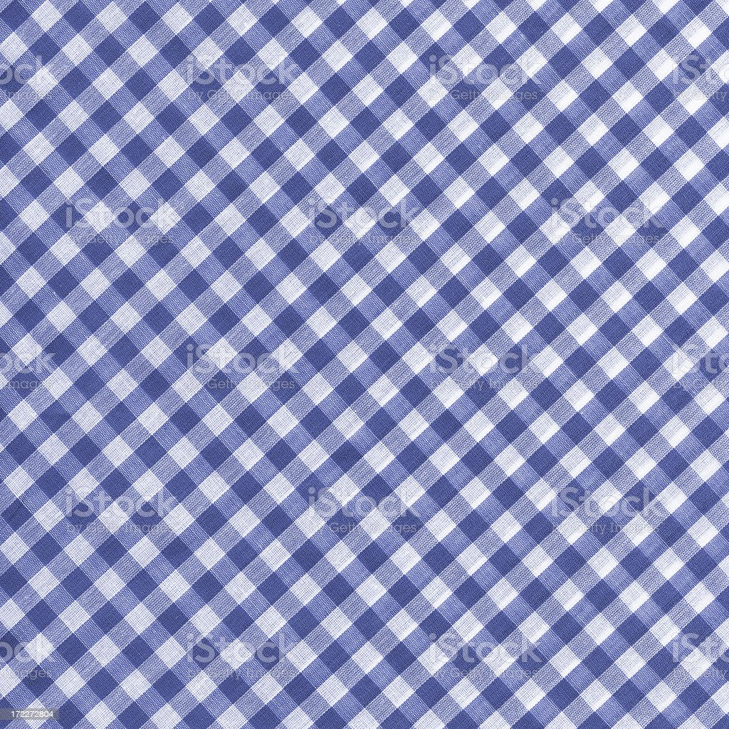 blue and white gingham fabric stock photo