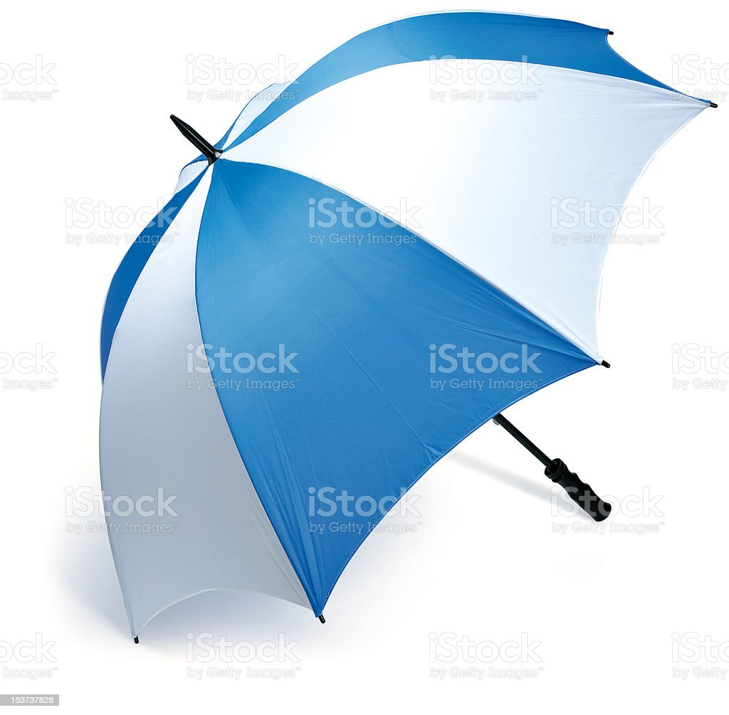 blue and white golf umbrella stock photo