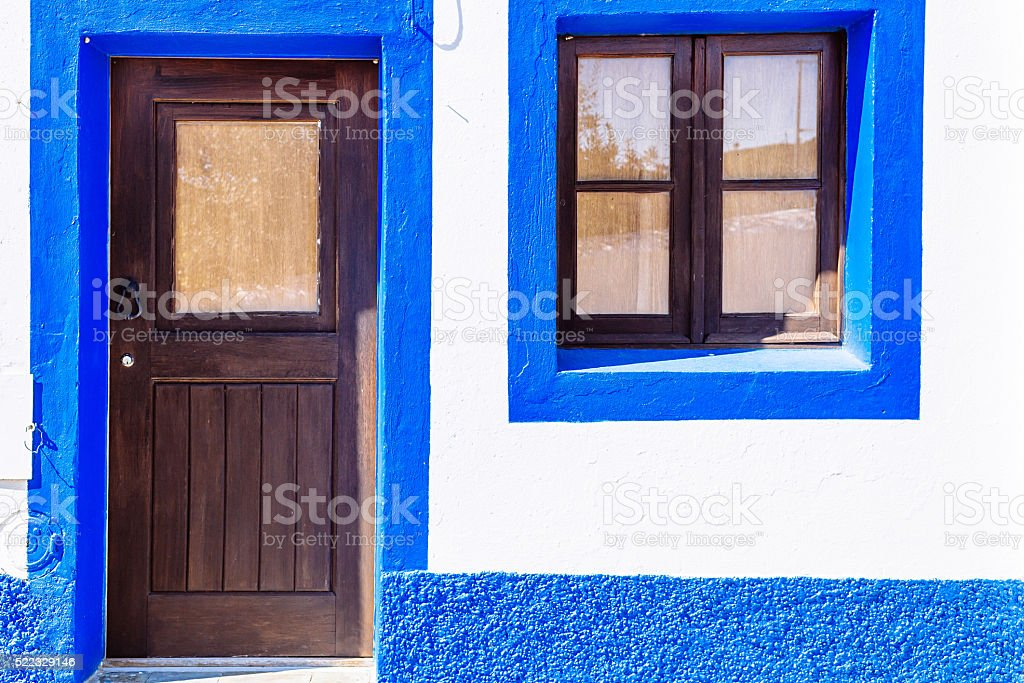 Blue and white house in Mertola, Portugal. stock photo