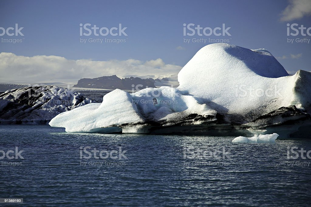 Blue and white icebergs royalty-free stock photo