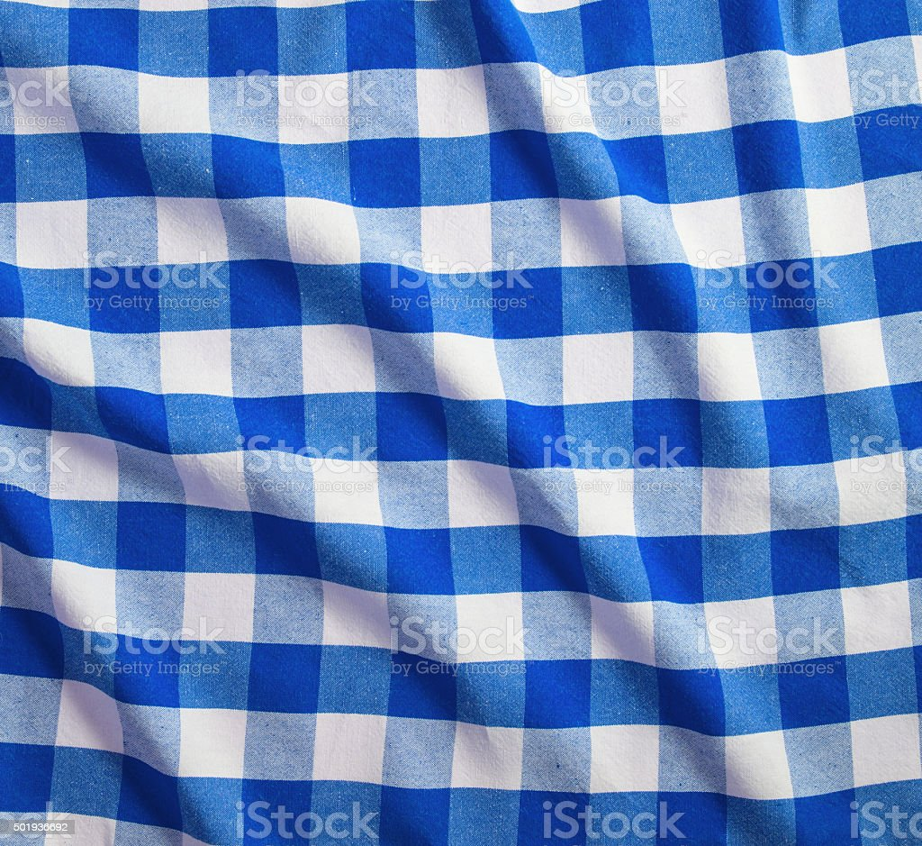 blue and white linen tablecloth stock photo